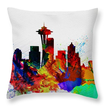Seattle Watercolor Skyline 2 Throw Pillow