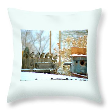 7 Winter Sparrows Throw Pillow by Deborah Moen