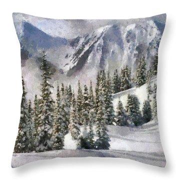 Snow In The Mountains Throw Pillow by Georgi Dimitrov