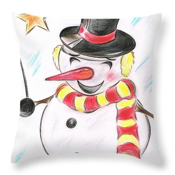 Snowmans  Stardom Throw Pillow by Teresa White