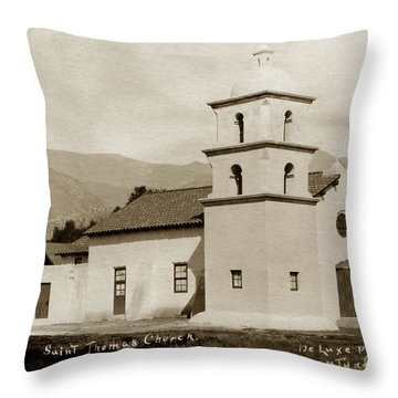 Throw Pillow featuring the photograph  St. Thomas Aquinas Catholic Church  Ojai Cal 1920 by California Views Mr Pat Hathaway Archives