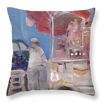 Stand On The Corner Throw Pillow by Leela Payne
