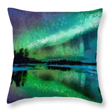 Sunset In Lapland Aurora Borealis Throw Pillow by Georgi Dimitrov