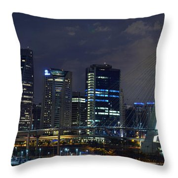 Supermoon In Sao Paulo - Brazil Skyline Throw Pillow