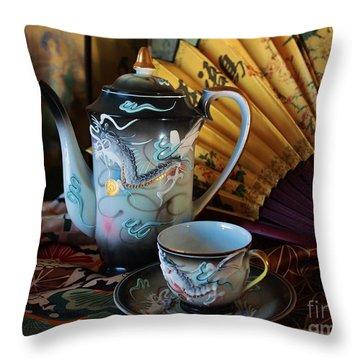 Tea And Calligraphy Throw Pillow