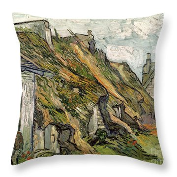 Thatched Cottages In Chaponval Throw Pillow by Vincent van Gogh