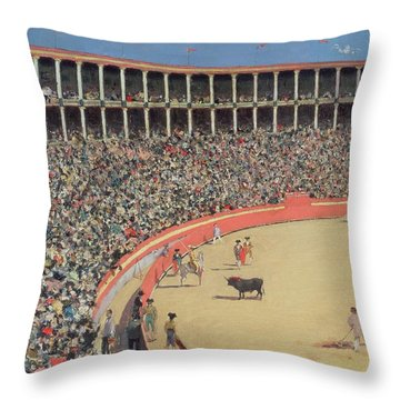 The Bullfight Throw Pillow by Ramon Casas i Carbo