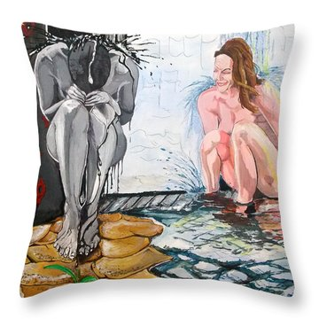 Throw Pillow featuring the painting  The Drizzle Of The States El Escurrir De Los Estados by Lazaro Hurtado