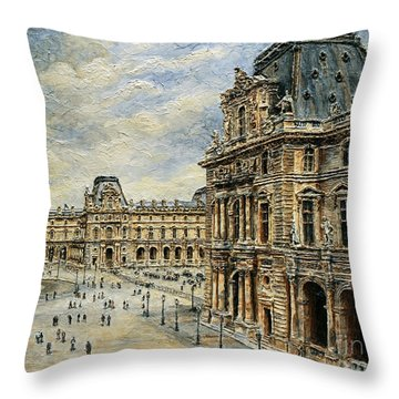 The Louvre Museum Throw Pillow