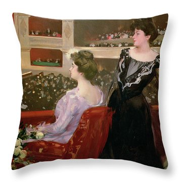 The Lyceum Throw Pillow by Ramon Casas i Carbo