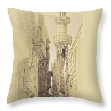 The Minaret Of The Mosque Of El Rhamree Throw Pillow by David Roberts
