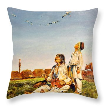 Throw Pillow featuring the painting End Of The Summer- The Storks by Henryk Gorecki