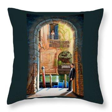 Thinking Of You Trattoria Sempione San Marco 578 Venezia Throw Pillow