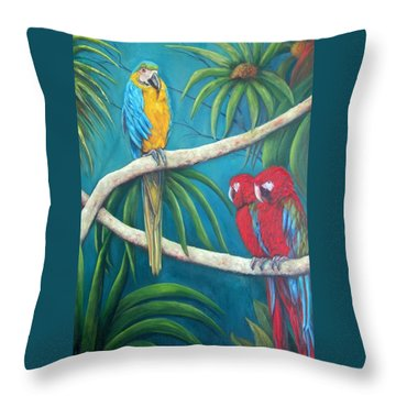 Three Is A Crowd,macaws Throw Pillow