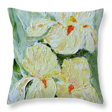 Three Yellow Irises Throw Pillow