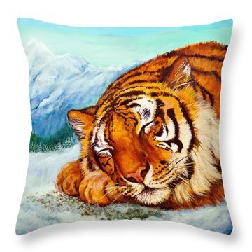 Throw Pillow featuring the painting  Tiger Sleeping In Snow by Bob and Nadine Johnston
