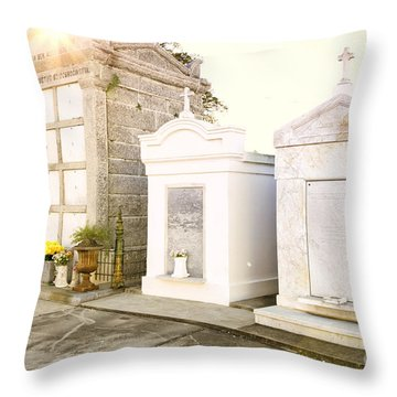 Throw Pillow featuring the photograph   Tombstones  by Erika Weber
