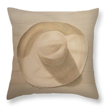 Travelling Hat On Dusty Table Throw Pillow by Lincoln Seligman
