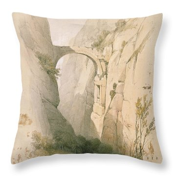 Triumphal Arch Crossing The Ravine Leading To Petra Throw Pillow