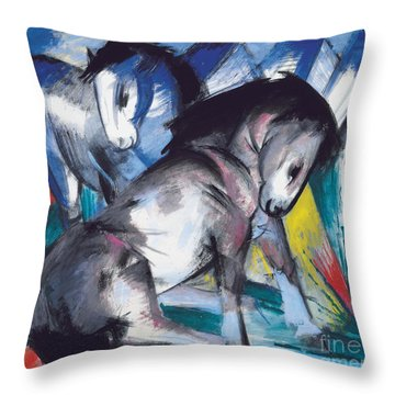 Two Horses Throw Pillow by Franz Marc