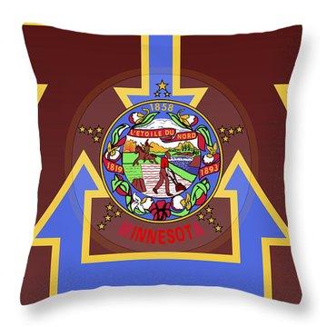 U Of M Minnesota State Flag Throw Pillow by Daniel Hagerman