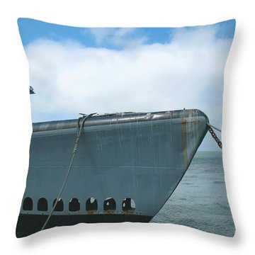 Throw Pillow featuring the photograph Uss Pampanito - Vintage Submarine by Connie Fox