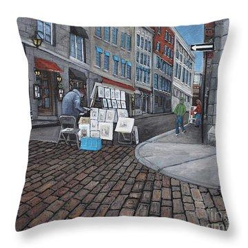 Vendeur Sur La Rue Vieux Montreal Throw Pillow by Reb Frost