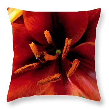 Vertical Orange Lily Macro  Throw Pillow by Danielle  Parent