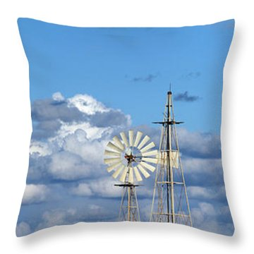 Water Windmills Throw Pillow by Stelios Kleanthous