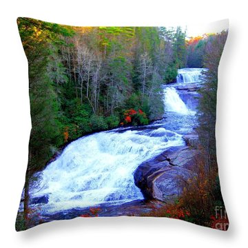 Throw Pillow featuring the photograph  Waterfall At Dupont Forest Nc 2 by Annie Zeno