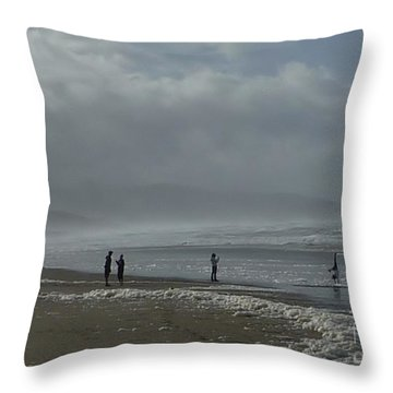 Throw Pillow featuring the photograph  Wave Handstand  by Susan Garren