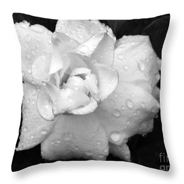 White Drops Throw Pillow by Michelle Meenawong