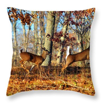 White Tail Deer Leaping  Throw Pillow by Peggy Franz