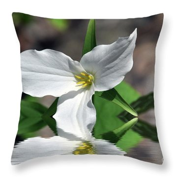 Throw Pillow featuring the photograph Spring Trillium by Elaine Manley