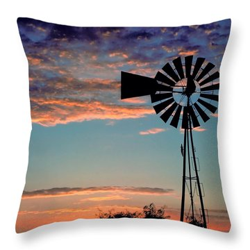Windmill At Dawn Throw Pillow