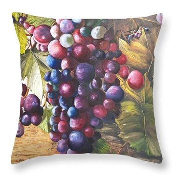 Wine Grapes On A Vine Throw Pillow