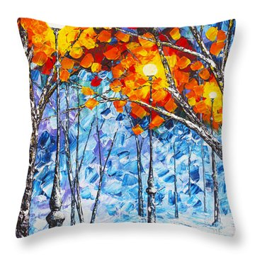 Throw Pillow featuring the painting  Silence Winter Night Light Reflections Original Palette Knife Painting by Georgeta Blanaru