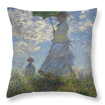 Woman With A Parasol Madame Monet And Her Son Throw Pillow