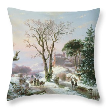 Wooded Winter River Landscape Throw Pillow by  Andreas Schelfhout