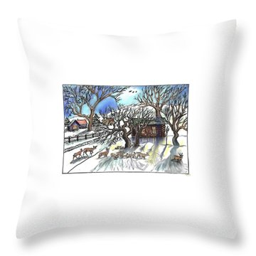 Wyoming Winter Street Scene Throw Pillow