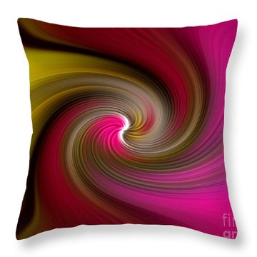 Throw Pillow featuring the digital art  Yellow Into Pink Swirl by Trena Mara