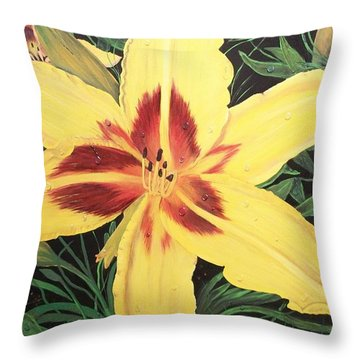 Throw Pillow featuring the painting  Yellow Lily by Sharon Duguay