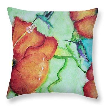 000002 Water Color Humming Birds Throw Pillow
