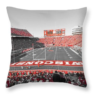 0095 Badger Football  Throw Pillow by Steve Sturgill