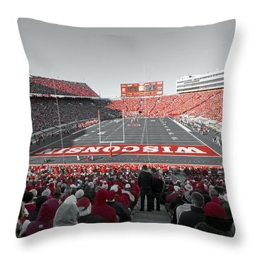 0096 Badger Football Throw Pillow