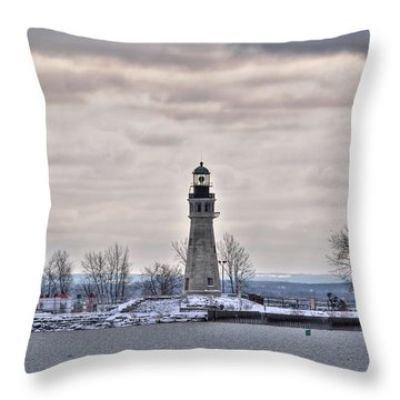 01 Winter Light House Throw Pillow