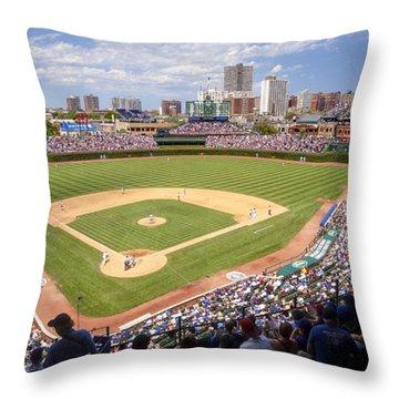 0100 Wrigley Field - Chicago Illinois Throw Pillow
