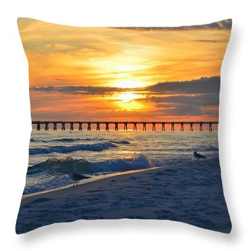 0108 Sunset Colors Over Navarre Pier On Navarre Beach With Gulls Throw Pillow by Jeff at JSJ Photography