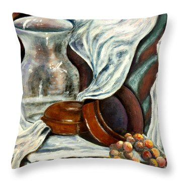 Throw Pillow featuring the painting 01298 Jewelry Box by AnneKarin Glass