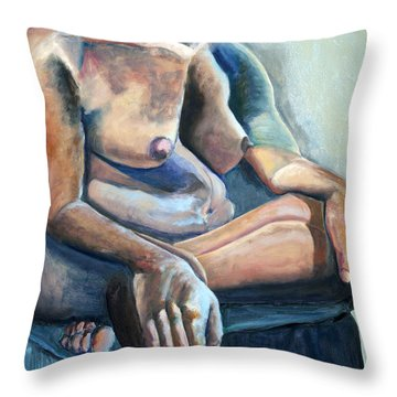 Throw Pillow featuring the painting 01300 Strength by AnneKarin Glass